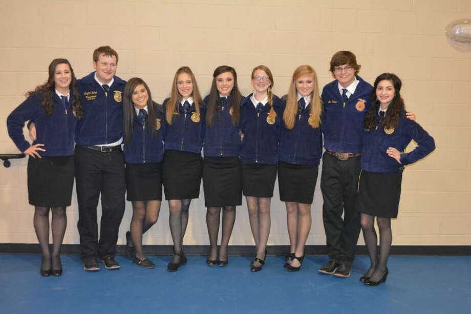 Plainview FFA 2014-15 officers include Miranda Hastey (left), vice president; Ty Bain, treasurer; Breanna Caballero, student adviser; Sterling Skinner, historian; Shadee Tye, reporter; Colti Wright, chaplain; Layne Mustian, secretary; Logan Mustian, sentinel; Madi McKay, president; and Colby Snipes (not shown), parliamentarian.