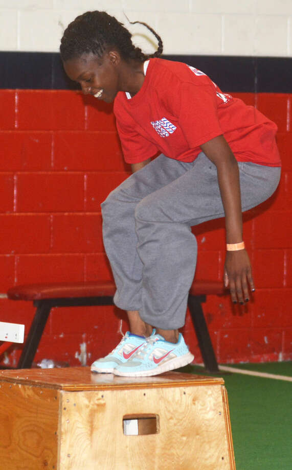 Plainview's Kaizha Roberts works out for the UIL State Track and Field Championships. The PHS sophomore finished sixth in the triple jump at the state meet Thursday with an effort of 38 feet, 8 1/2 inches. Photo: Skip Leon/Plainview Herald