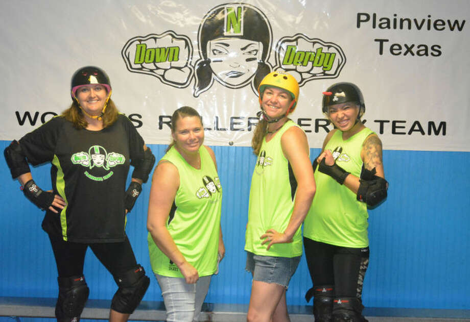 Skip Leon/Plainview HeraldMembers of the Plainview Down 'N' Derby Roller Derby team are (from left) Tuff 'N' Twisted, Gypsy 'K'oss, Kimtastrophe and Guns 'N' Rosas. Down 'N' Derby will host its first bout in Plainview at the Happy Union Baptist Church Gym,219 E. Givens. Doors open at 5:30 p.m. and the match begins at 6:30 p.m. Saturday.