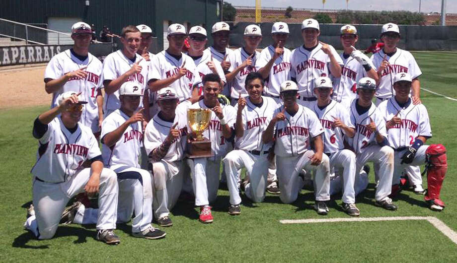 The Plainview Bulldogs baseball team poses with the trophy they earned for winning the area championship in the UIL baseball playoffs. Plainview swept El Paso Burges in two games to advance to the regional quarterfinals. Photo: Courtesy Photo