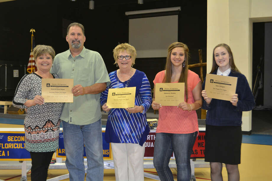 Plainview FFA HonoreesDoug McDonough/Plainview HeraldReceiving special recognition on Tuesday from the Plainview High FFA chapter include Karen (left) and Scott Snipes, and Linda Eversole, Honorary Chapter Farmer Degrees; Mackenzie Winters, Star Greenhand Award; and Katie Mahagan, Star Chapter Farmer Degree.