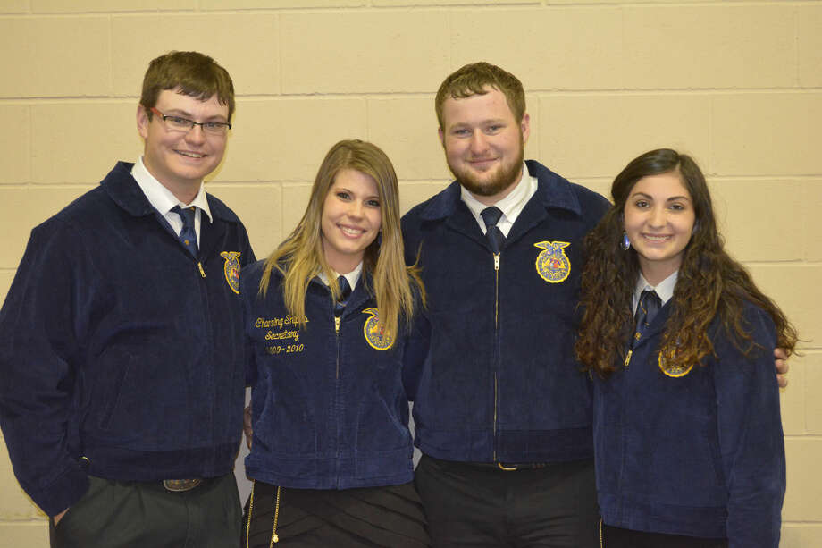 FFA Scholarship RecipientsDoug McDonough/Plainview HeraldPlainview FFA scholarship recipients, announced Tuesday during the group's annual awards banquet on Tuesday, include Logan Mustian (left), Mark Marley Award ($2,000) and John Deere/Ray Lee Equipment ($2,000); Colby Snipes, FFA Booster Club ($1,500); Ty Bain, Hale County Soil & Water Conservation District/FFA Booster Club ($1,500); and Madi McKay, Gene Barnett Award ($2,500) and John Deere/Hurst Farm Supply-National FFA Foundation ($2,000).