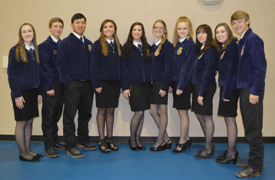 Plainview FFA OfficersDoug McDonough/Plainview HeraldNew chapter officers for Plainview High School FFA were installed Tuesday at the group's annual awards banquet. They include Katie Mahagan (left), secretary; Hagan Offield, parliamentarian; Caden Horton, treasurer; Shadee Tye, vice president; Miranda Hastey, president; Colti Wright, historian; Layne Mustian, student advisor; Sterling Skinner, reporter; Alicia Straley, sentinel; and Jace Browning, chaplain.
