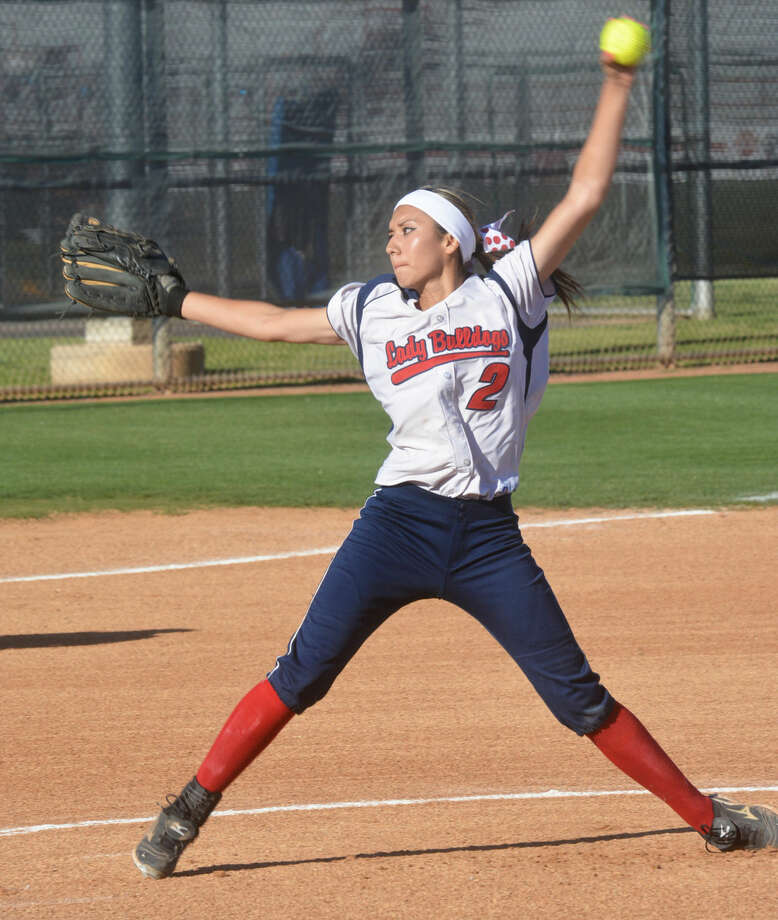 Criselda Luna, shown firing a pitch during a game this season, was voted the Co-Most Valuable Player in the district for the second consecutive year. The senior led a young Plainview team to the district runner-up spot and the playoffs. Photo: Skip Leon/Plainview Herald