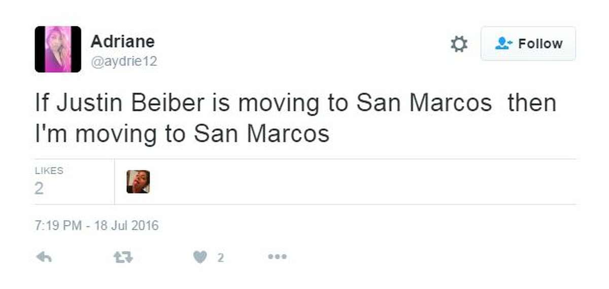 Contrary to a fictitious news site's report, Justin Bieber is not moving to San Marcos. Still, many people who fell for the fake report took to Twitter in fits of excitement and anger.