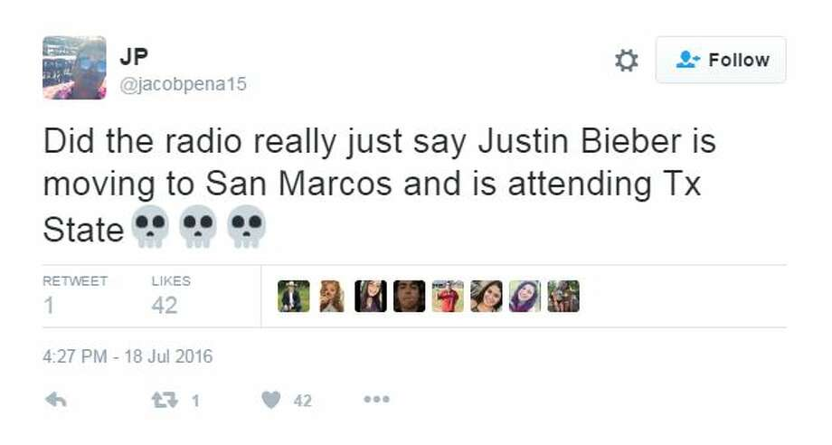 Contrary to a fictitious news site's report, Justin Bieber is not moving to San Marcos. Still, many people who fell for the fake report took to Twitter in fits of excitement and anger. Photo: Twitter