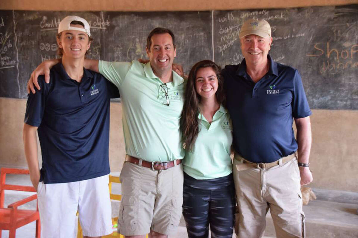 From left: Lukens Boolbol, Shaun Fletcher (Head of Project Blessing), Isabel Vigale and Charlie Sachs (Head of School for Stanwich School) during the summer's annual visit to Rwanda to help build and work with students at the school and nearby village in Rwanda.