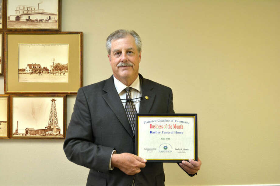 "Doug McDonough/Plainview HeraldBartley Funeral Home, represented by owner Thad Bartley, was recognized Tuesday by the Chamber of Commerce Board of Directors as the Chamber's Business of the Month. Located at 1200 S. I-27, the locally owned and ""banked"" funeral home has been in operation for 16 years. Bartley notes that he is following in his father's footsteps, an active funeral director in Lubbock for more than 50 years."