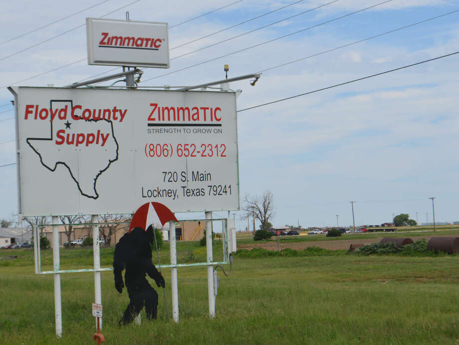 Big Foot ForecastDoug McDonough/Plainview HeraldBig Foot, in the form of a steel cutout sculpture of Big Foot attached to the Floyd County Supply sign along US-70 in Aiken, offers occasional social commentary, timely holiday reminders and weather forecasts without saying a word. In the weeks leading up to Valentine's Day, the familiar mythical creature could be seen carrying what appeared to be a large heart-shaped box of candy, complete with bow. In recent weeks, Big Foot has been holding an umbrella, which should come in handy with heavy weekend rainfall predicted over much of the area beginning Friday night. The Big Foot sculpture is courtesy of Lindan Morris, owner of Floyd County Supply and a Floyd County commissioner.