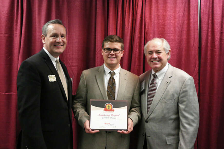 Hale County 4-H member Landon Woods receives an $18,000 Houston Livestock Show & Rodeo Scholarship during the 4-H Roundup at Texas A&M. Photo: Courtesy Photo