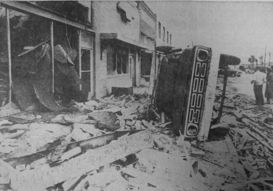 The devastation in downtown Hale Center caused by a tornado which tore through the community on June 2, 1965, is captured in this photo from the Herald.