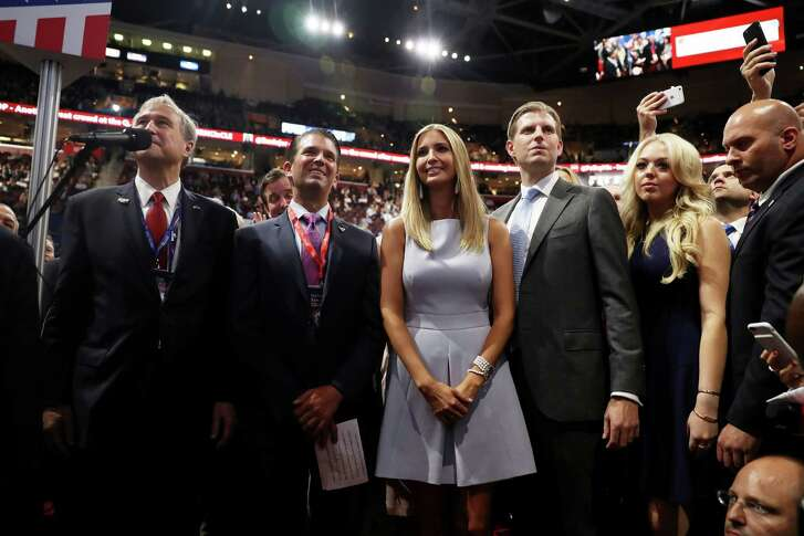 CLEVELAND, OH - JULY 19:  Ed Cox, NY Republican party chairman, announce they pass during roll call along with Donald Trump Jr. (2nd-L), Ivanka Trump (C), Eric Trump (2nd R), and Tiffany Trump (R) on the second day of the Republican National Convention on July 19, 2016 at the Quicken Loans Arena in Cleveland, Ohio. An estimated 50,000 people are expected in Cleveland, including hundreds of protesters and members of the media. The four-day Republican National Convention kicked off on July 18.