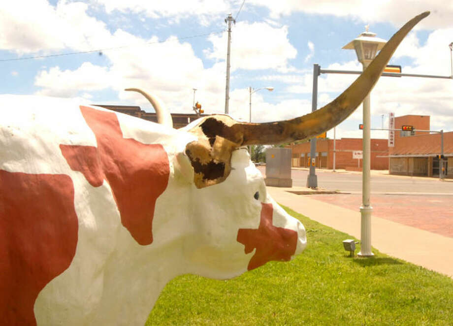Bevo, a county-owned fiberglass longhorn cow on the southwest corner of the courthouse square, is missing half of one horn and its right ear. Photo: Doug McDonough/Plainview Herald
