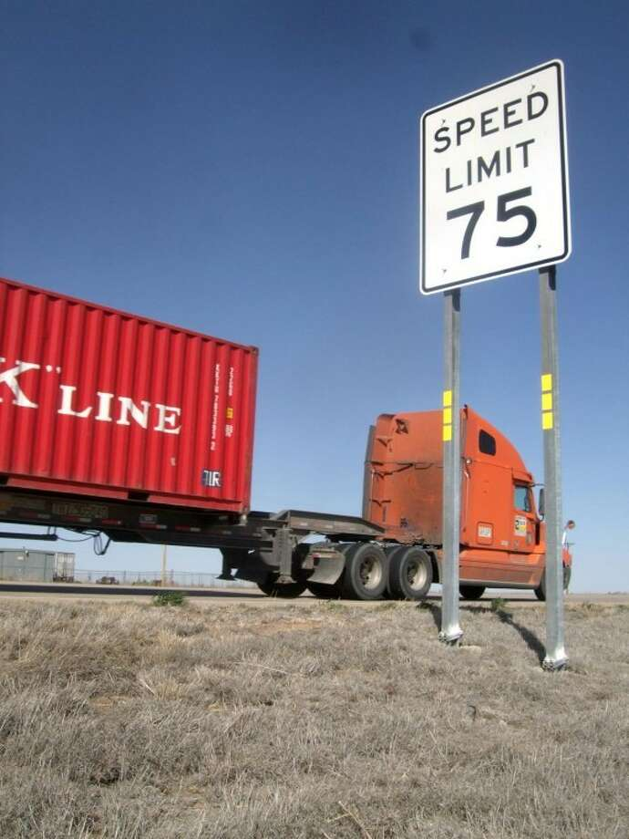 Kevin Lewis/Plainview HeraldNew 75 mph speed limit signs recently went up on Interstate 27. The 109-mile stretch from Lubbock to Amarillo was among the roadways approved for higher speed limits by the Texas Transportation Commission in January.