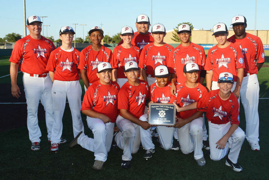 The Plainview Babe Ruth 13-year-old all-star baseball team won the district championship at Wayland Baptist University's Wilder Field Monday night with a 10-3 victory over Dumas. Members of the Plainview team are front row, from left, Nate Gonzales, Jonathan Garza, Lathon Hawkins, Eli Munoz and Will Rossi. Second row, from left, Brant Rollins, Malik Owens, Kole Mayberry, Jeremy Armijo, Derek Dominguez and Jonathan Sammann. The team's coaches are back row, from left, assistant coach Keith Mayberry, head coach A.D. Gonzales and assistant coach Lamont Hawkins. Photo: Skip Leon/Plainview Herald