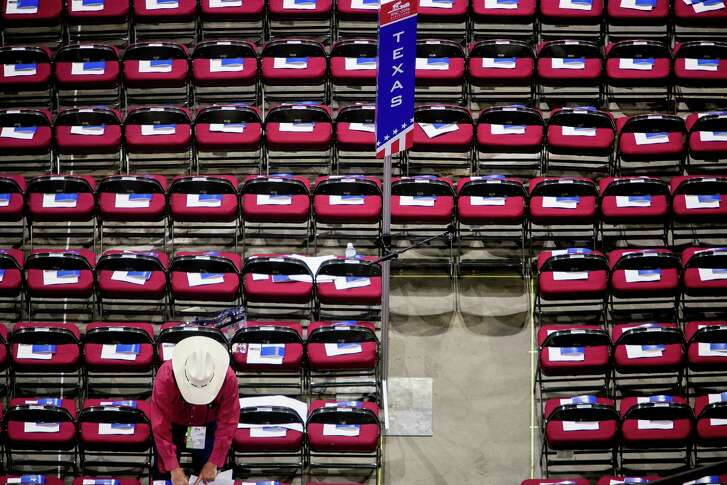 Seats await the Texas delegation in the Quicken Loans Arena on day two of the Republican National Convention in Cleveland. (Sam Hodgson/The New York Times)