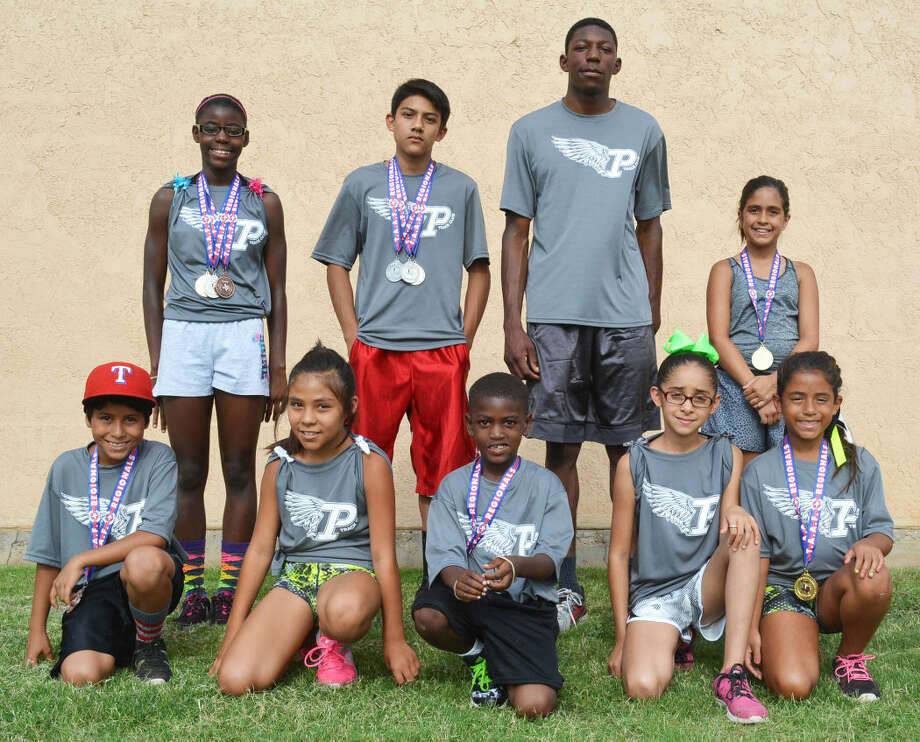Nine Plainview athletes in the summer track program will compete at the Texas Amateur Athletic Federation state track meet in College Station July 30 to Aug. 2. The local youngsters who will run at state are front row, from left, Alex Villarreal, Pee Wee Division 100-meter dash; Klarissa Mijares, Bantam Division 200-meter dash and 4x100-meter relay; Jocodee Ervine, Pee Wee Division 400-meter dash; Alexis Herrera, Bantam Division 4x100 relay; and Madyson Amador, Bantam Division 4x100 relay. Back row, from left, LaDerika Kendrick, Junior Division 100- and 200-meter dashes and long jump; Justin Ortiz, Junior Division 100- and 200-meter dashes and long jump; Kershawn Whitaker, Intermediate Division 200- and 400-meter dashes; and Tailor Summers, Bantam Division 4x100 relay. Photo: Skip Leon/Plainview Herald