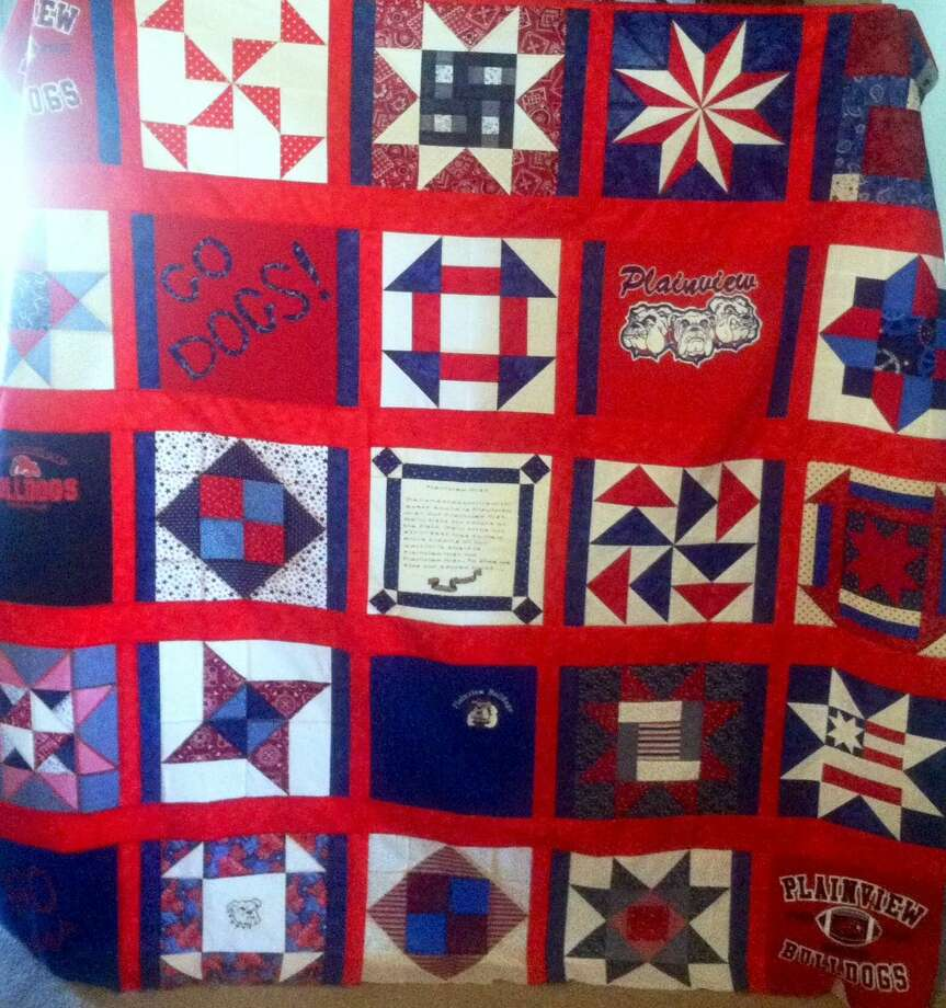 Courtesy Photo A handmade quilt, crafted by six members of the PHS Class of 1965, will be raffled as a fundraiser during the group's 50-year reunion Sept. 24-26. At the 2015 PHS Awards Ceremony in May, the class awarded a scholarship for $1,965 to graduating senior Dusti Boedeker. Photo: Picasa
