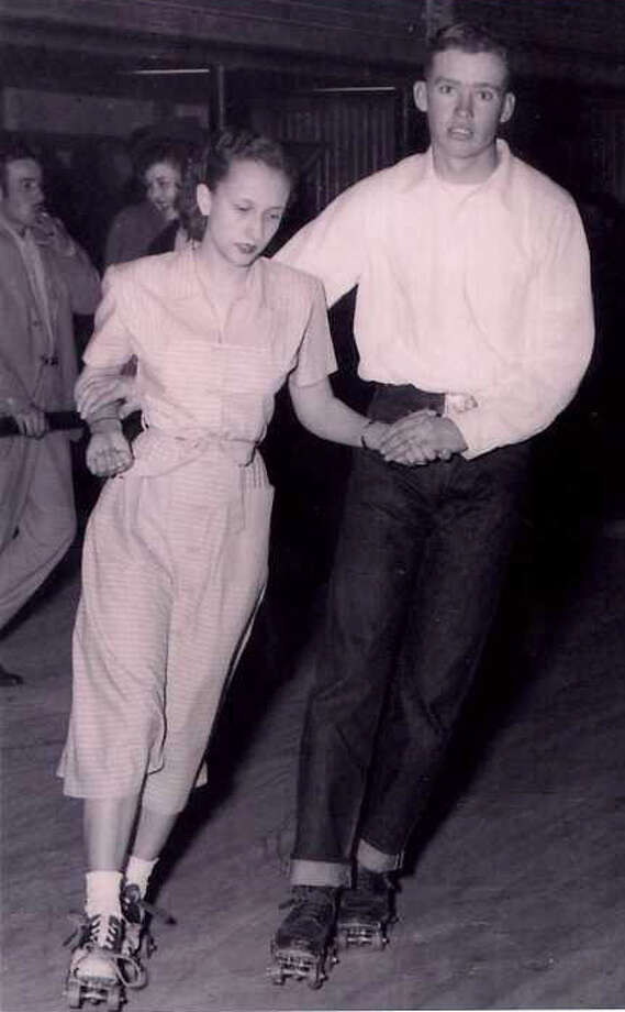 Then: Shirley and Wilton on a skate-date Photo: Courtesy Photo