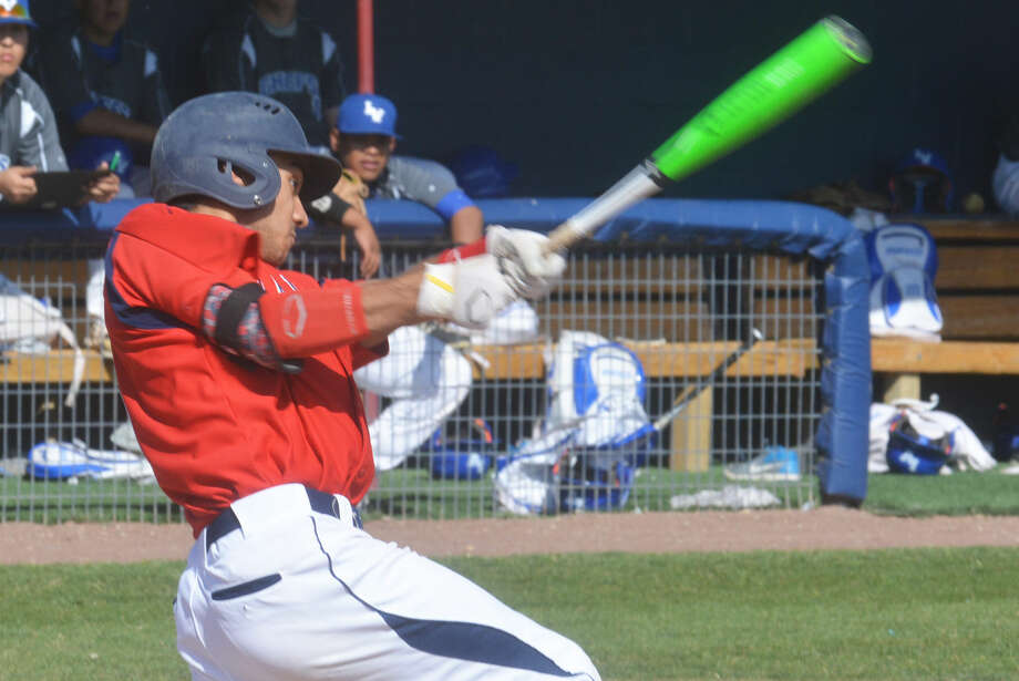 Plainview's Ryan DeLeon takes a cut at a pitch during the high school season DeLeon, a third baseman who led the Bulldogs in batting average, hits and triples, has signed to play at Division III Sul Ross State next season. Photo: Skip Leon/Plainview Herald