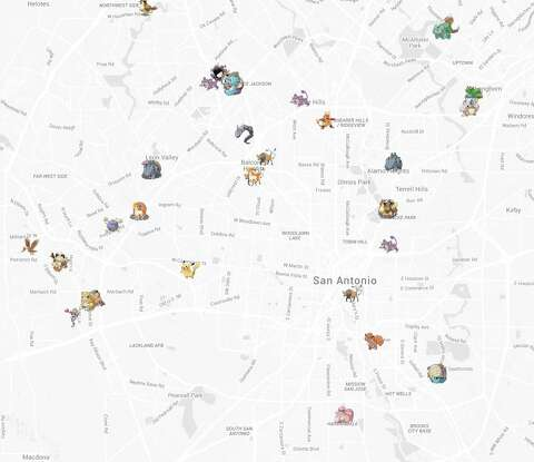 Locating map shows where to find Pokemon in San Antonio - San