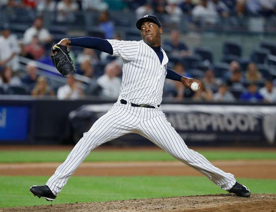 NEW YORK, NY - JULY 18:  Aroldis Chapman #54 of the New York Yankees pitches against the Baltimore Orioles during their game at Yankee Stadium on July 18, 2016 in New York City.  (Photo by Al Bello/Getty Images) Photo: Al Bello, Getty Images