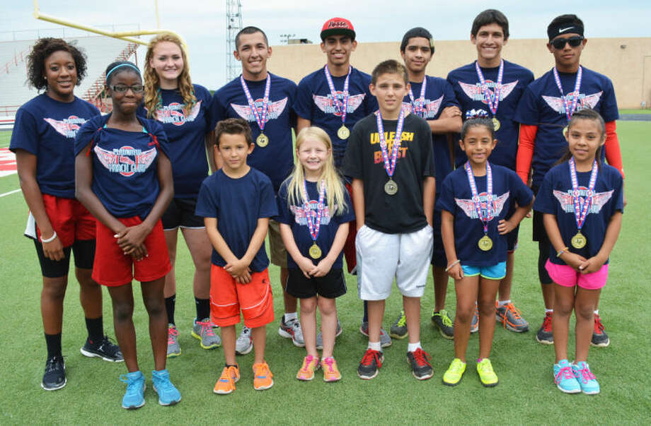 Members of the Plainview Track Club summer program who will compete at the state meet in College Station Thursday through Sunday are front row (from left) Laderika Kendrick, Zephaniah Silvas, Brooklyn Collins, Matthew Cisneros, Madyson Amador and Klarissa Mijares. Back row (from left) Destiny Wallace, Emily Collins, Jarel Rosas, Dorian Hernandez, Sergio Lara, Justin (J.J.) Rodriguez and Miguel Rodriguez. Not pictured is Alicia Riggins. Photo: Skip Leon/Plainview Herald