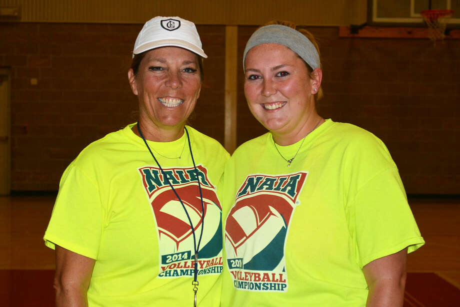 Plainview volleyball head coach Torri Hatch (left) and her daughter Ashley Welch (right) are all smiles Thursday afternoon. The duo will be more business-like Friday afternoon when the Lady Bulldogs have their first scrimmage of the season against Tulia at 2 p.m. Welch is an assistant coach for Tulia. Photo: Skip Leon/Plainview Herald