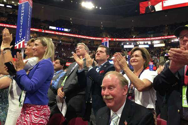State Sen. Michael McLachlan, R-Danbury, a Trump delegate, watches the roll call of delegates at GOP national convention in Cleveland Tuesday, July 19, 2016.