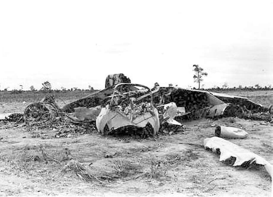 An EB-66C aircraft, flown by Plainview's Don Eversole, is shown after it crash landed in a Vietnam tapioca field in 1970. Photo: Courtesy Photo