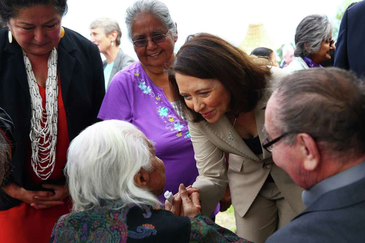 U.S. Senator Maria Cantwell greets Billy Frank Jr.'s older sister Maiselle Bridges, 92, as she arrives at a dedication ceremony for the newly named Billy Frank Jr. Nisqually National Wildlife Refuge and Medicine Creek Treaty National Memorial, July 19, 2016.