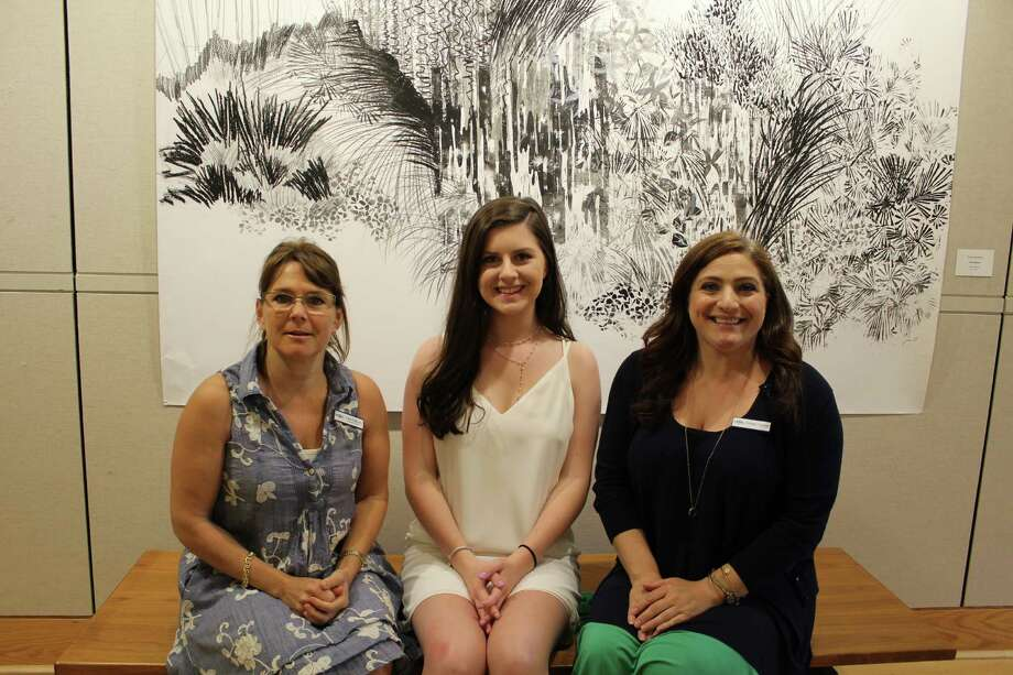 Lisa Oldham (left), New Canaan Library executive director, Natalie Spruck, a former intern, and Christle Chumney, the adult services manager, who all worked on the library's oral history project, gathered on July 15, 2016. Photo: Erin Kayata / Hearst Connecticut Media / New Canaan News