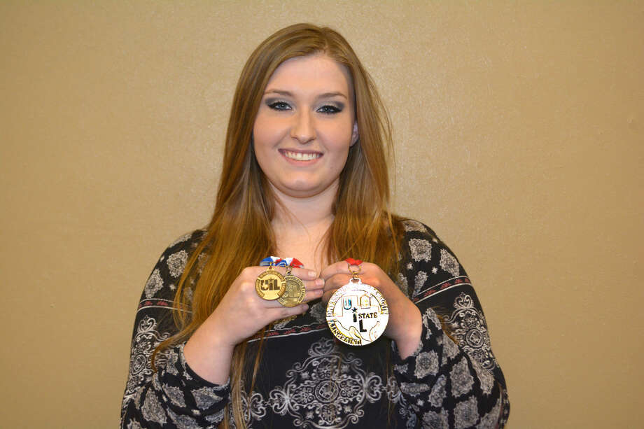 Recent Plainview High graduate Mikayla Henderson holds the three UIL gold medals she received in May at the State Choir Solo and Ensemble Contest, for First Division in both Solo and Ensemble competition as well as the large medallion as Outstanding Performer in Solo.