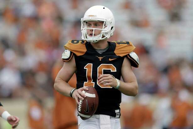 Texas quarterback Shane Buechele (16) during a spring NCAA college football game, Saturday, April 16, 2016, in Austin, Texas. (AP Photo/Eric Gay)