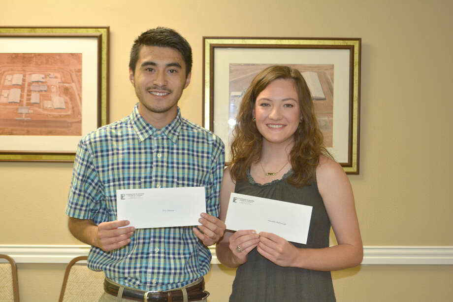 LEADERSHIP PLAINVIEW SCHOLARSHIPS: This year's recipients of $1,000 scholarships from the Leadership Plainview Alumni Association are Eric Cervera and Meredith McDonough. The grants to the recent Plainview High School graduates were announced at Tuesday's Chamber board meeting. Cervera is the son of Jose and Dulce Cervera and has enrolled at Texas Tech University in Lubbock and plans to pursue a degree in accounting and/or financial planning. McDonough is the daughter of Doug and Brenda McDonough and has enrolled at West Texas A&M University in Canyon. She is majoring in communication disorders and plans on becoming a speech/language pathologist.