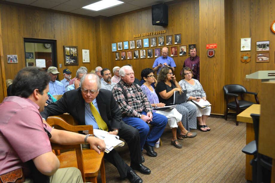 It was standing-room only with some people waiting in out in the hall on Monday during a public hearing before the Hale County Commissioners Court to set up reinvestment zones and grant related tax incentives for Hale Community Energy, LLC at its $800 million wind energy project.