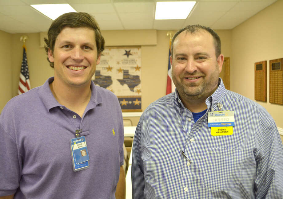 "New local Walmart managers Jered Lorton (left) and Jarred Rackley were introduced Thursday at a Chamber of Commerce ""coffee break."" Lorton is general manager for the Distribution Center while Rackley is manager of Plainview's Supercenter."