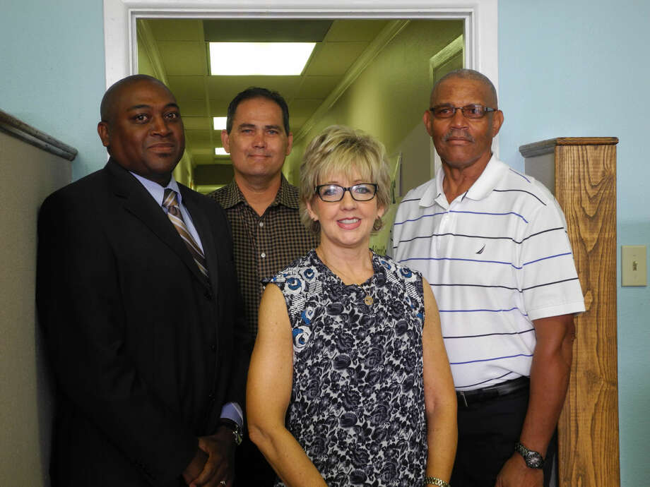 Central Plains Center is partnering with Serenity Center/Recovery Solutions and Hale County Community Supervision Corrections Department in creating the Rural Counties Initiative for Recovery. Pictured are Andrew Jackson (left), director for Hale County CSCD; Paul Walker, CEO of Plainview Serenity Center/Recovery Solutions; Kay Brotherton, director of special projects for Central Plains Center; and Foster Riley, recovery coach. Photo: Gail M. Williams | Plainview Herald
