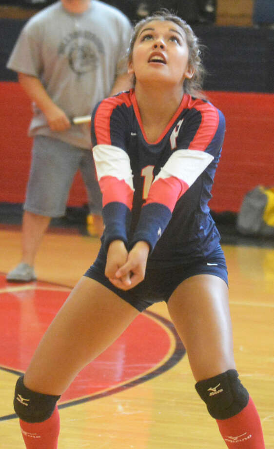 Plainview's Mariah Hernandez sets a ball into the air during a match earlier this season. The senior defensive specialist notched 130 digs in four matches (32.5 per match) at the Frenship tourney Friday and Saturday. Photo: Skip Leon/Plainview Herald