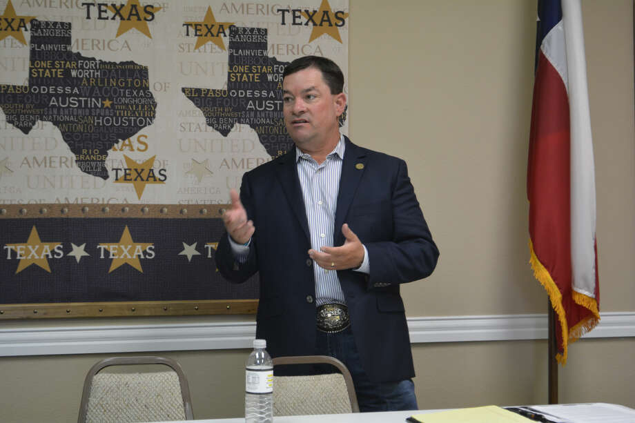State Rep. Ken King (R-Canadian) makes a point Wednesday during a town hall meeting at the Plainview Chamber of Commerce. He represents 17 counties in District 88, which stretches from the upper Texas Panhandle across the South Plains and into the Permian Basin.