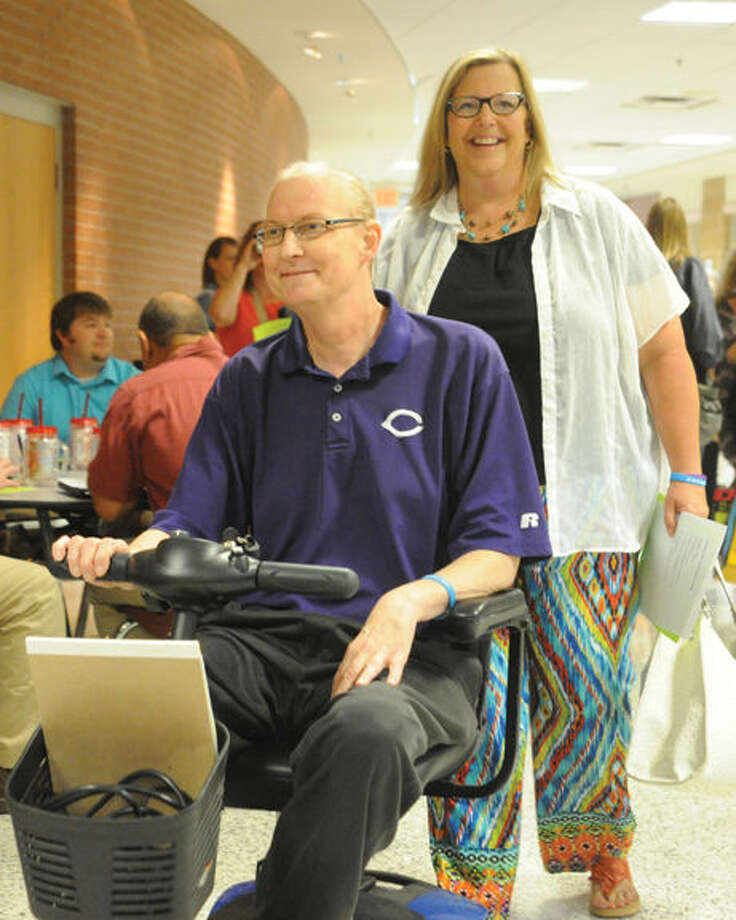 Debbie and Guy Crenshaw at CHS for the CISD convocation Monday. Photo: By JAMES BARRINGTON Canyon News Staff
