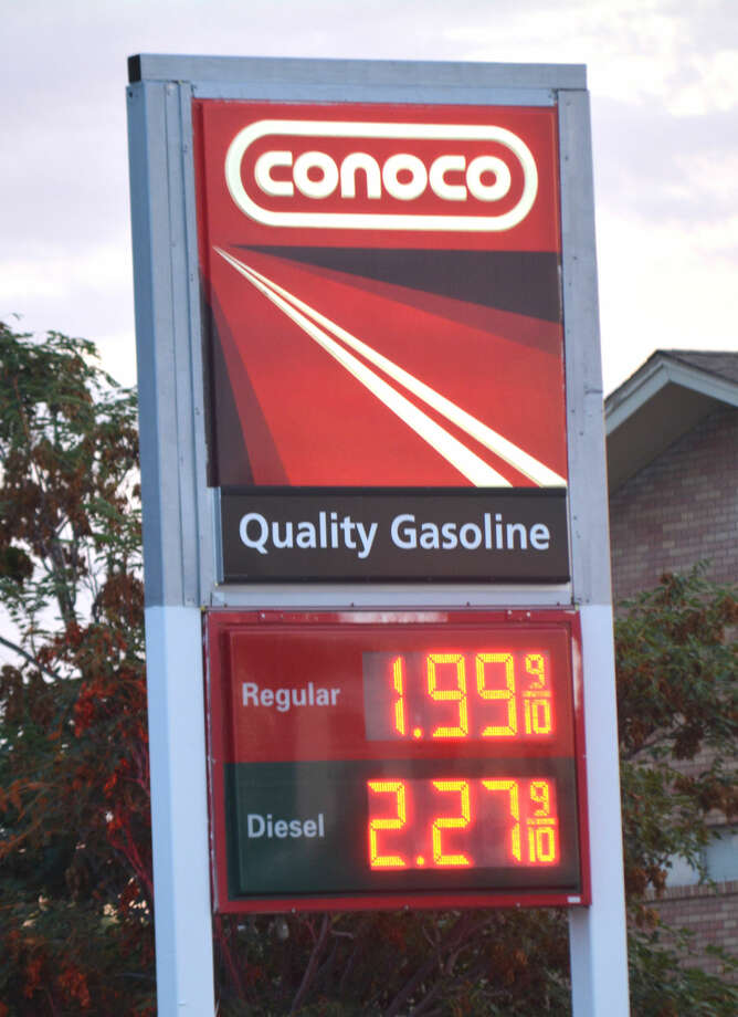 Doug McDonough/Plainview Herald The price for regular unleaded gasoline at several local stations dropped to $1.99 per gallon on Wednesday afternoon, which is the lowest price since late February.