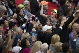 Members of the California delegation cheer for Republican presidential candidate Donald Trump during the roll call at the Republican National Convention, Tuesday, July 19, 2016, in Cleveland. (AP Photo/Evan Vucci)
