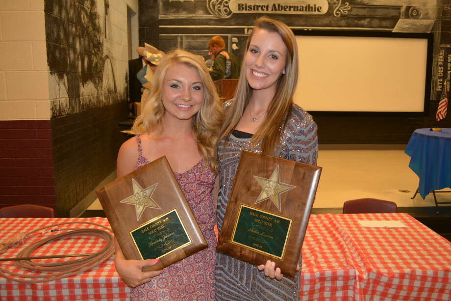 Kennady Johnson (left) of Abernathy 4-H and Shalin Lawson of Plainview 4-H are this year's recipients of the Gold Star Award, the highest youth honor in 4-H. The awards were announced Aug. 16 at the Hale County 4-H Achievement Banquet in Abernathy. Photo: McDonough/Plainview Herald