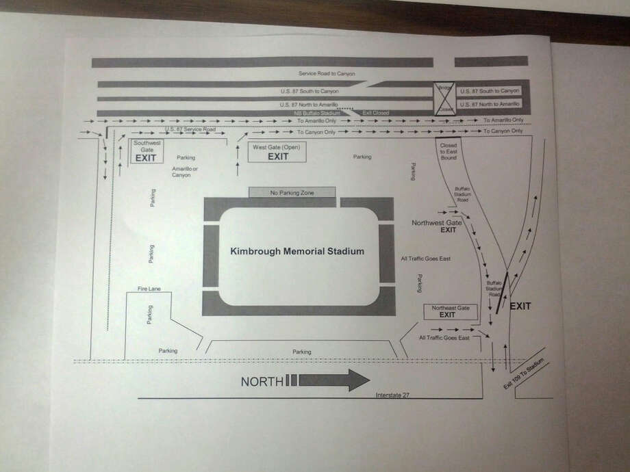 The traffic patterns round Kimbrough Stadium will be affected by road construction. Those attending tonight's Plainview football game there should look at this diagram to know how to enter and exit the stadium. Photo: Courtesy Photo