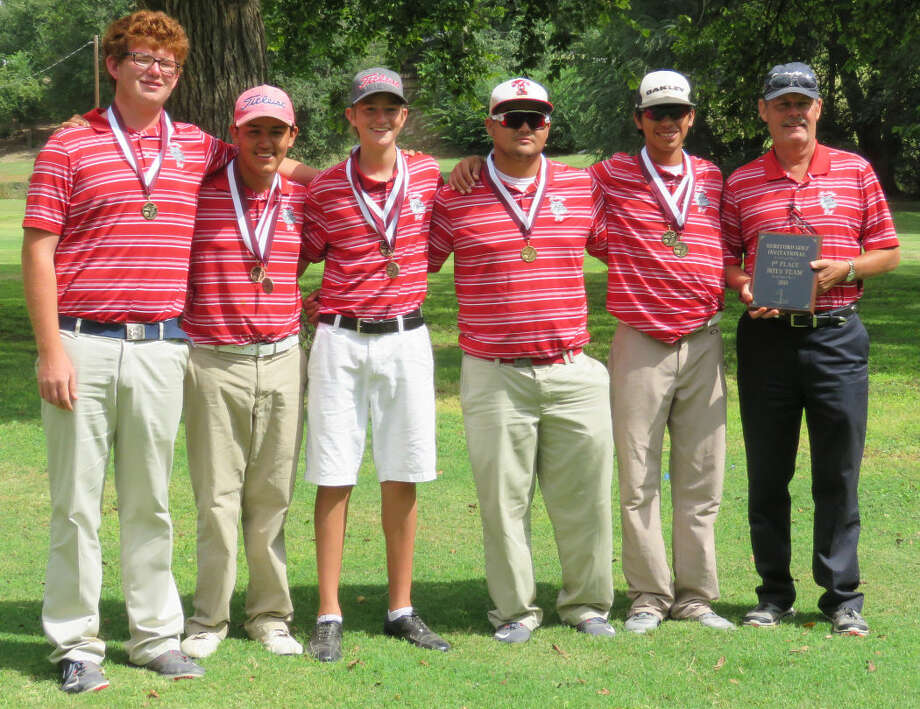 The Plainview golf team won the championship at the Hereford Inviational Friday and Saturday. Members of the team are (from left)Matthew Hastey, Isaiah Garcia, Trey Gregory, Troy Velasquez, Ryan Castillo and Coach Mike Lewis. Photo: Photo Courtesy Of BetsyLewis