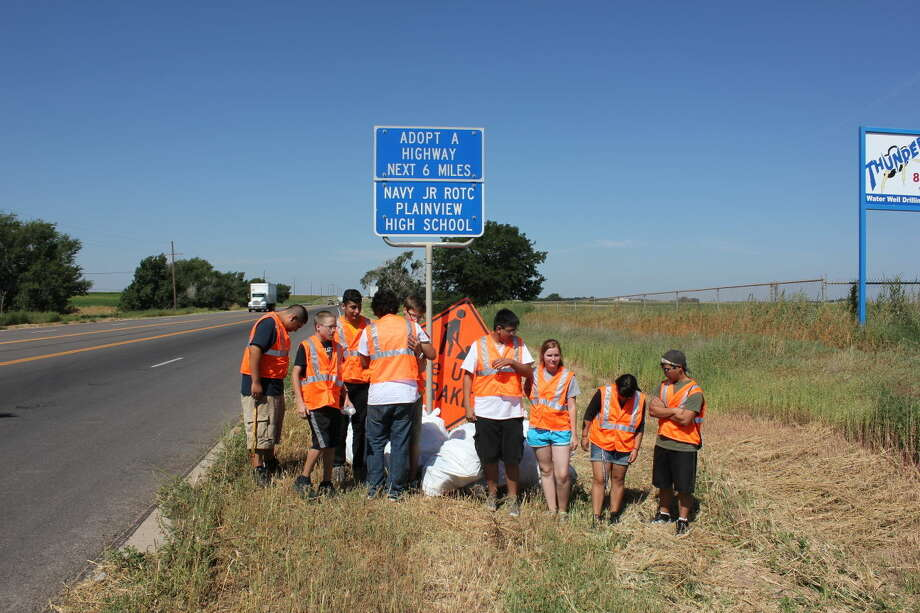 Jan Seago/Plainview ISDThe PHS Navy Junior ROTC adopted a 6-mile stretch of road on US 70 toward Olton. Nine cadets spent two hours Friday removing what totaled 14 large bags of trash off the highway.