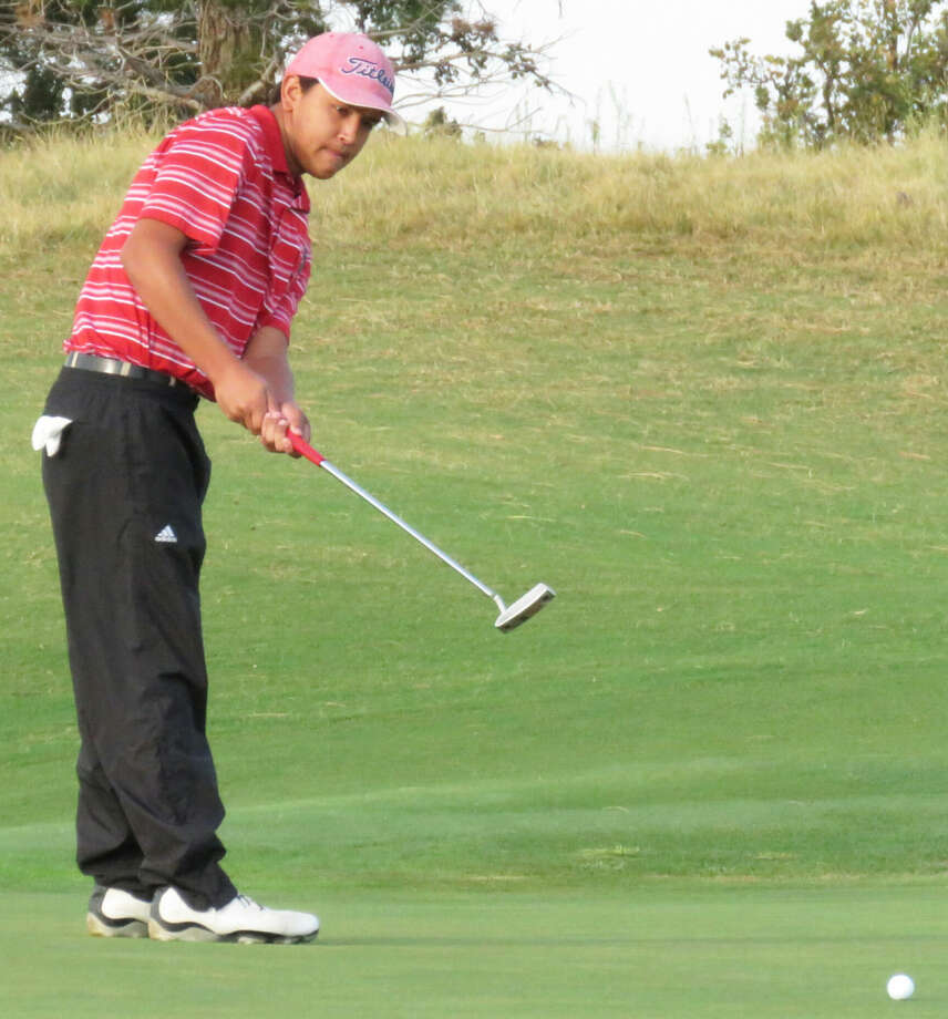 Plainview's Isaiah Garcia follows through on a shot during the Red Raider Classic in Lubbock. Garcia led the Bulldogs with a two-round total of 150 in the tournament, which was played at Shadow Hills Golf Course and The Rawls Course. Photo: Photo Courtesy Of Betsy Lewis