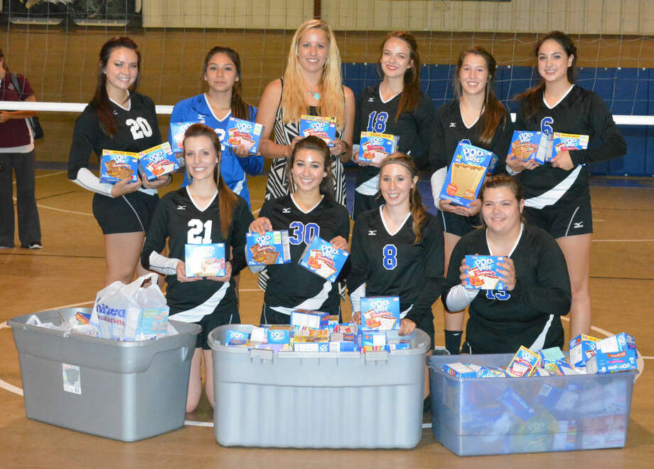 The Plainview Christian Academy volleyball team initiated a drive to collect Pop Tarts for the Snack Pak 4 Kids Plainview program,which provides snacks to students who don't have any food over the weekend. The team, along with their fellow students and parents, collected 127 boxes of Pop Tarts to donate. Members of the Lady Eagles are front row (from left) Shalin Lawson, Mallory Bennett, Jordan Hooper and Shayla Ross. Back row (from left) Abbey Maresca, Savannah Guzman, Coach Alex Mulliken, Laura Beth Earhart, Hadley Hooper and Bailee Mullins. PCA defeated Klondike in three games Tuesday night. Photo: Skip Leon/Plainview Herald