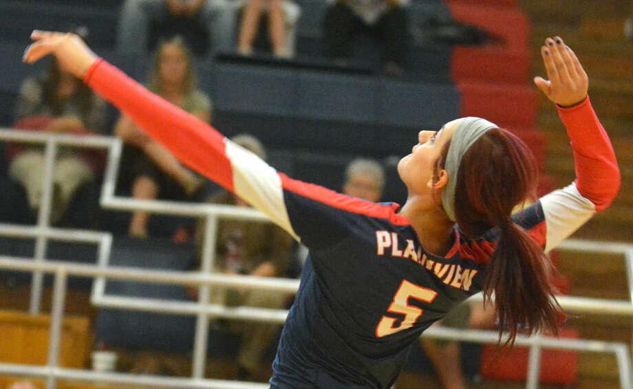 Plainview's Harlee Davis winds up for a hit during a volleyball match earlier this season. Davis led the Lady Bulldogs with seven kills Saturday, but Frenship scored a three-game victory. Photo: Skip Leon/Plainview Herald